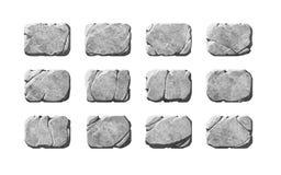 Ensemble de boutons et d'éléments en pierre réalistes Photos libres de droits