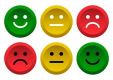 Ensemble de boutons Icône verte, jaune, rouge d'émoticônes de smiley positive, neutre et négative Illustration de vecteur illustration libre de droits