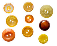 Ensemble de boutons jaunes d'isolement Image libre de droits