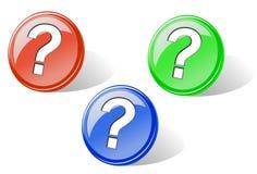 Ensemble de boutons lustrés de question Images libres de droits