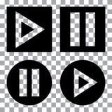 Ensemble de boutons de multimédia Icône noire de bouton de jeu Illustration de vecteur illustration stock