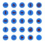Ensemble de boutons ronds bleus Images libres de droits