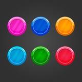Ensemble de boutons ronds de couleur Photos libres de droits