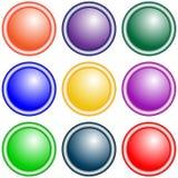 Ensemble de boutons ronds de vecteur violets, vert, jaune, bleu, rouge, lilas, orange Images libres de droits