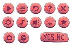 Ensemble de boutons ronds en bois rouges Illustration de Vecteur