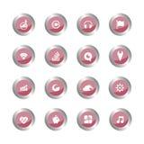 Ensemble de boutons rouges ronds dans le style de bande dessinée capitaux pour l'interf d'utilisateur Illustration Stock