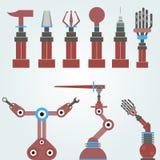 Ensemble de bras mécaniques, robots Images libres de droits