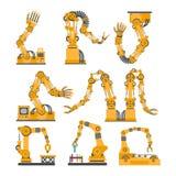 Ensemble de bras robotiques, mains Icônes de robot de vecteur réglées