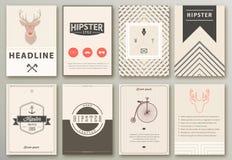 Ensemble de brochures dans le style de hippie illustration libre de droits