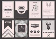 Ensemble de brochures dans le style de hippie illustration de vecteur