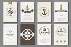 Ensemble de brochures nautiques dans le style de vintage Photographie stock libre de droits