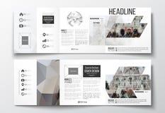 Ensemble de brochures triples, calibres carrés de conception Images libres de droits