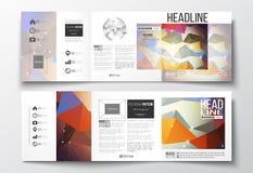 Ensemble de brochures triples, calibres carrés de conception Construction moléculaire avec les lignes reliées et les points, scie Photo libre de droits