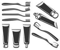 Ensemble de brosse à dents et de pâte dentifrice Vecteur Image stock