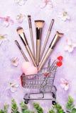 Ensemble de brosses de maquillage sur le fond rose Photo libre de droits