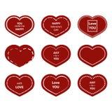 Ensemble de bulles, autocollants, labels, étiquettes avec le texte Forme de coeur Image stock