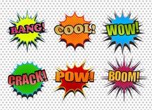 Ensemble de bulles comiques colorées de la parole Photographie stock