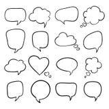 Ensemble de bulles de la parole, croquis Images stock