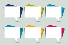 Ensemble de bulles de la parole de couleur Autocollants de papier Images libres de droits