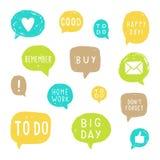 Ensemble de bulles de la parole pour la planification illustration stock