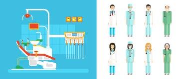 Ensemble de bureau dentaire avec la chaise dentaire, personnel médical dans le style plat Photographie stock