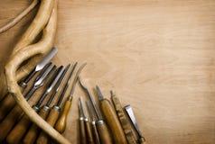 Ensemble de burins pour le woodcarving Images libres de droits