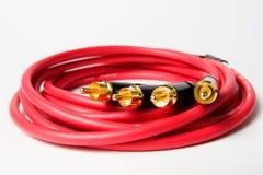 Ensemble de câbles stéréo d'acoustique de RCA Photo libre de droits