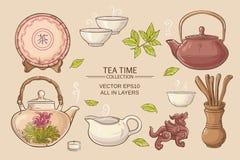 Ensemble de cérémonie de thé Illustration Libre de Droits