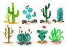 Ensemble de cactus d'aquarelle Photos stock