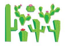 Ensemble de cactus différent de bande dessinée d'isolement Images stock