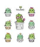 Ensemble de cactus mignons tirés par la main Image stock