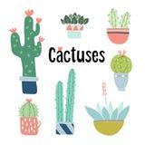 Ensemble de cactus tiré par la main mignon et de plantes succulentes dans des pots Objets floraux d'isolement de vecteur Illustra Photographie stock libre de droits