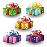 Ensemble de cadeaux d'anniversaire multicolores photo libre de droits