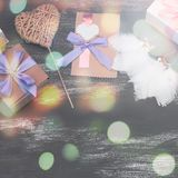 Ensemble de cadeaux pour les vacances Valentine image libre de droits