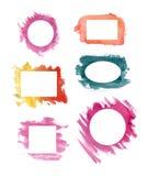 Ensemble de cadre d'aquarelle images stock