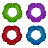 Ensemble de cadre de cercle de pourpre, de Bourgogne, de bleu de turquoise et de feuilles de vert réglés Image stock