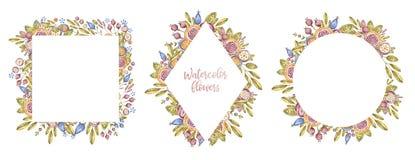 Ensemble de cadre de fleur d'aquarelle d'isolement sur le blanc illustration de vecteur