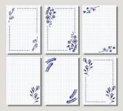 Ensemble de cadre floral de vecteur, carte, frontière Cartes de voeux Images stock
