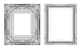 Ensemble de cadre gris de vintage avec l'espace vide d'isolement sur le Ba blanc Photographie stock