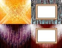 Ensemble de cadre vide sur un éclairage de mur de couleur, Photos libres de droits