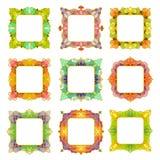 Ensemble de 9 cadres carrés Images stock