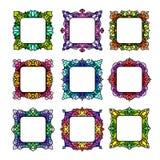 Ensemble de 9 cadres carrés Photos stock