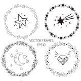 Ensemble de cadres de cercle de graphique de vecteur Guirlandes pour la conception, calibre de logo Chimères, étoiles, ciel étoil illustration de vecteur