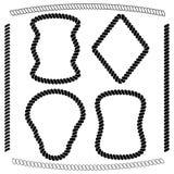 Ensemble de cadres d'isolement de vecteur de forme rectangulaire et de brosses Images stock