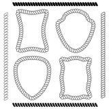 Ensemble de cadres d'isolement de vecteur de forme rectangulaire et de brosses Images libres de droits