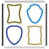 Ensemble de cadres de colorfulvector de forme rectangulaire et de brosses Image libre de droits