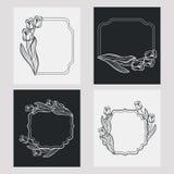 Ensemble de cadres de verticale de silhouette Photographie stock libre de droits