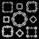 Ensemble de cadres de vintage de monogramme pour des logos Blanc sur le backgro noir illustration de vecteur