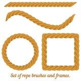 Ensemble de cadres et de brosses de corde Vecteur Image stock