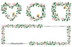 Ensemble de cadres floraux romantiques des fleurs de cerisier Illustration de Vecteur